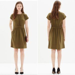 MADEWELL Silk Moonset Mini Dress Olive Green